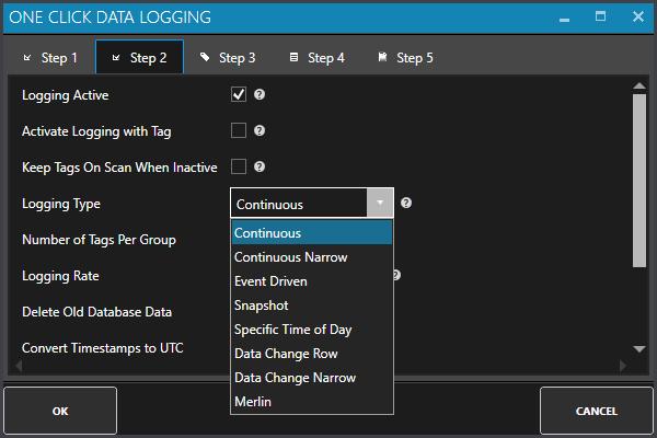 One Click Data Logging Step 2