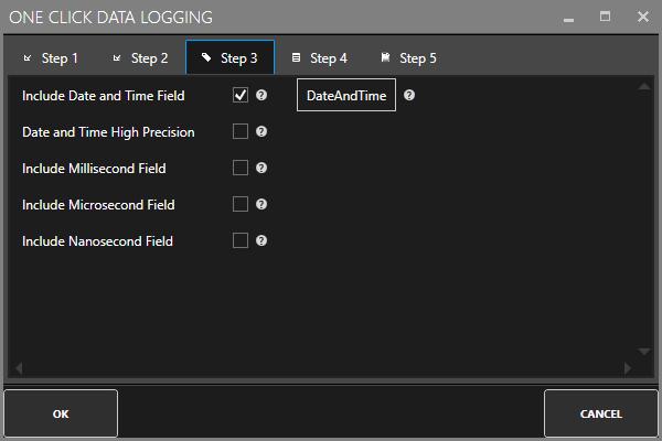 One Click Data Logging Step 3