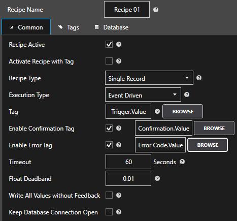 Recipe Configuration