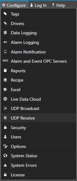 Configure UDP Receive
