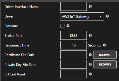AWS IoT Driver Configuration