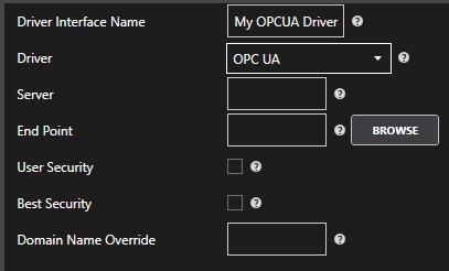 OPCUA Driver Configuration